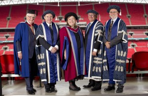 Sue Threader, Chief Executive of the Rochester Bridge Trust, was awarded an Honorary Doctor of Science from the University of West London at Wembley Stadium today.  Pix.Tim Anderson